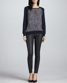 Joie Malena Heart Front Sweater & Nailah Faux Leather Pants