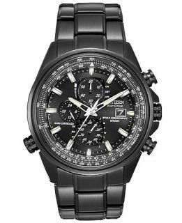 Citizen Mens Eco Drive World Chronograph A T Black Ion Plated Stainless Steel Bracelet Watch 43mm AT8025 51E   Watches   Jewelry & Watches