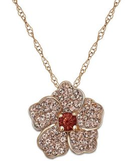 Kaleidoscope 18k Rose Gold over Sterling Silver Necklace, Pink and Orange Swarovski Crystal Flower Pendant (1 ct. t.w.)   Necklaces   Jewelry & Watches