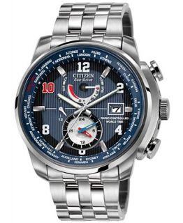 Citizen Mens Eco Drive World Time A T Stainless Steel Bracelet Watch 43mm AT9010 52M   Eli Manning Limited Edition   Watches   Jewelry & Watches