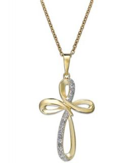 14k Gold Two Tone Pendant, Swirl Cross   Necklaces   Jewelry & Watches