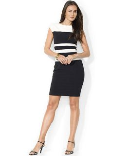 Lauren Ralph Lauren Dress Cap Sleeve Colorblocked Sheath Dress   Dresses   Women