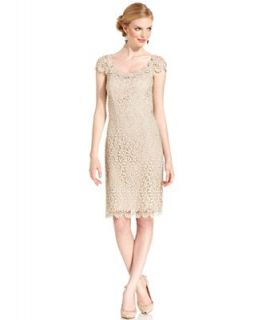 Betsy & Adam Dress, Cap Sleeve Crochet Lace Sheath   Dresses   Women
