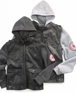 Urban Republic Kids Jacket, Boys Faux Leather Jacket with Hood   Kids