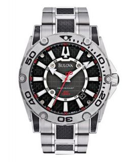 Bulova Mens Precisionist Champlain Stainless Steel and Black Carbon Fiber Bracelet Watch 47mm 96B156   Watches   Jewelry & Watches