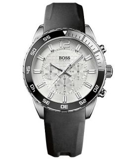Hugo Boss Watch, Mens Chronograph Black Rubber Coated Leather Strap 44mm HB2033 1512805   Watches   Jewelry & Watches