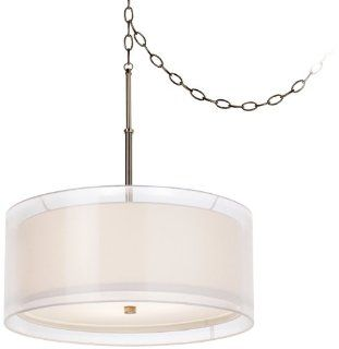 Pacific Coast Lighting 84 9357 26 Seeri 3 Light Pendant, Brushed Chrome and Black Chrome Finish with White Fabric Shade Overlayed by Sheer White Shade   Ceiling Pendant Fixtures