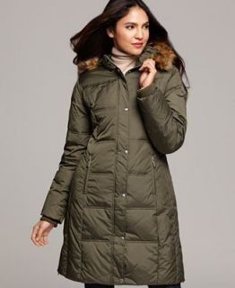MICHAEL Michael Kors Coat, Faux Fur Hooded Long Sleeve Quilted A Line Puffer   Coats   Women