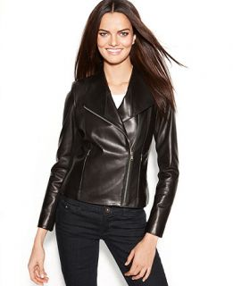 Calvin Klein Leather Asymmetrical Moto Jacket   Jackets & Blazers   Women