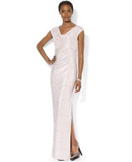 Lauren Ralph Lauren Cap Sleeve Metallic Drape Neck Gown   Dresses   Women