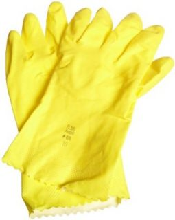 "Ansell FL 87 198 Light Duty Latex Glove, Chemical Resistant, 12"" Pinked Cuff, 12"" Length Chemical Resistant Safety Gloves"
