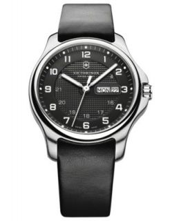 Victorinox Swiss Army Watch, Mens Alliance Black Leather Strap 241474   Watches   Jewelry & Watches