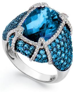 Sterling Silver Blue Topaz (11 1/10 ct. t.w.) and White Topaz (1/2 ct. t.w.) Ring   Rings   Jewelry & Watches