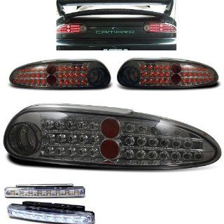 1993 2002 CHEVY CAMARO REAR BRAKE TAIL LIGHTS SMOKED LENS+LED BUMPER RUNNING DRL Automotive
