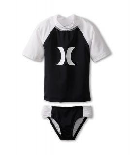 Hurley Kids One Only Rashguard Banded Pant Girls Swimwear Sets (Black)