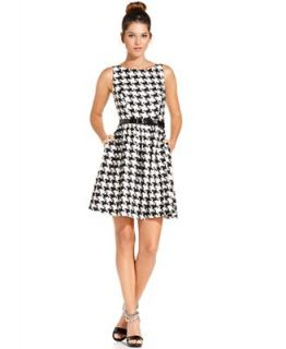 Jessica Simpson Sleeveless Houndstooth Belted Dress   Dresses   Women