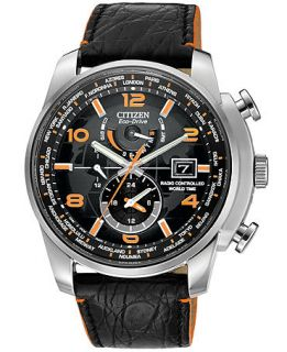Citizen Mens Eco Drive World Time A T Black Leather Strap Watch 43mm AT9010 28F   Watches   Jewelry & Watches