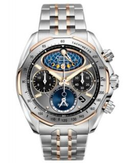 Citizen Mens Eco Drive Signature Perpetual Calendar Chronograph Two Tone Stainless Steel Bracelet Watch 43mm BL5446 51H   Watches   Jewelry & Watches