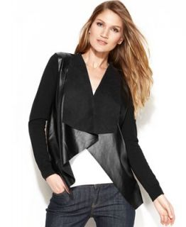 MICHAEL Michael Kors Long Sleeve Faux Leather Draped Cardigan   Women