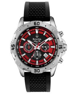 Bulova Mens Chronograph Marine Star Black Silicone Strap Watch 44mm 96B186   Watches   Jewelry & Watches