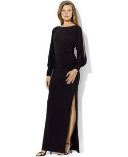 Lauren Ralph Lauren Long Sleeve Split Jersey Gown   Dresses   Women