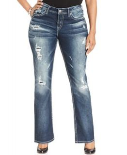 Silver Jeans Plus Size Aiko Destructed Baby Bootcut Jeans, Indigo Wash   Jeans   Plus Sizes