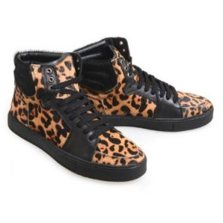endevice Leopard print Calf Hair Lace up Casual Ankle Sneakers JD12X169 3D, Black, L(US Men's 10.5 M) Shoes