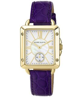 Anne Klein Womens Purple Leather Strap Watch 33x30mm AK 1402MPPR   Watches   Jewelry & Watches