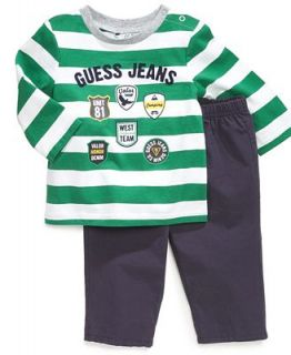 GUESS Baby Set, Baby Boys Newborn 2 Piece Long Sleeved Shirt and Pull On Pants   Kids