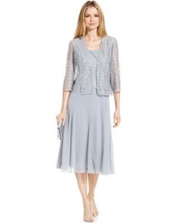 Alex Evenings Petite Dress and Jacket, Sleeveless Glitter Lace T Length   Dresses   Women
