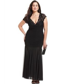 Betsy & Adam Plus Size Dress, Short Sleeve Lace Sequined Pleated   Dresses   Plus Sizes
