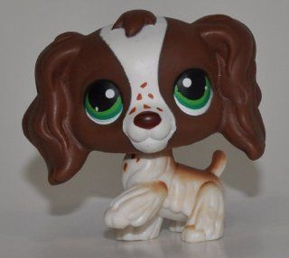 Springer Cocker Spaniel #156 (Brown/White, Green Eyes, )   Littlest Pet Shop (Retired) Collector Toy   LPS Collectible Replacement Single Figure   Loose (OOP Out of Package & Print)