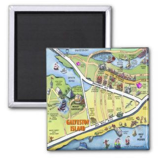 Galveston Texas Cartoon Map Fridge Magnet