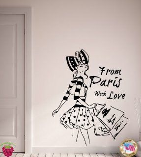 From Paris with Love French Fashion Woman Decor Wall Art Mural Vinyl Art Sticker M508   French Wall Decals