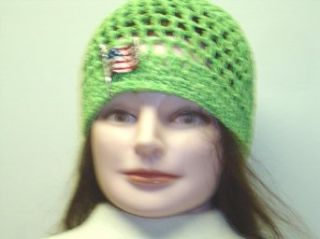 Cp157, Hand Crocheted Lime Color Gimp Skull Cap for Men, Women and Teens Trimmed with Metallic American Flag with Latch at  Men�s Clothing store