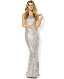 Lauren Ralph Lauren Petite Dress, Sleeveless Sequin Mesh Cowl Back Gown   Dresses   Women