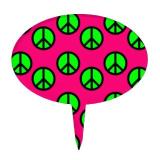 Hot Pink Neon Green Peace Sign Hippie Pattern Cake Topper