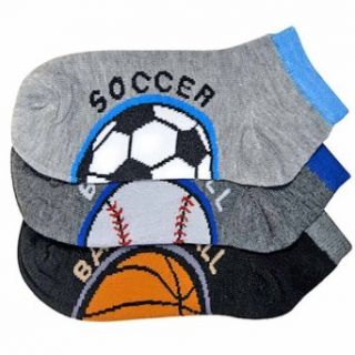 Luxury Divas Sports Ball Printed 3 Pack Boys Ankle Socks Dress Socks Clothing