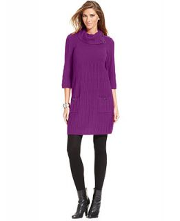 Style&co. Petite Dress, Three Quarter Sleeve Cowl Neck Sweater Dress   Dresses   Women