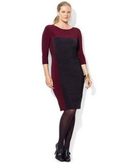 Lauren Ralph Lauren Plus Size Dress, Three Quarter Sleeve Colorblocked Jersey   Dresses   Plus Sizes