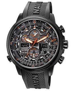 Citizen Mens Eco Drive Navihawk A T Black Polyurethane Strap Watch 48mm JY8035 04E   Watches   Jewelry & Watches