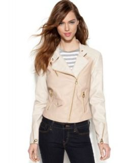 Bar III Mixed Media Faux Leather Sleeve Moto Jacket   Jackets & Blazers   Women