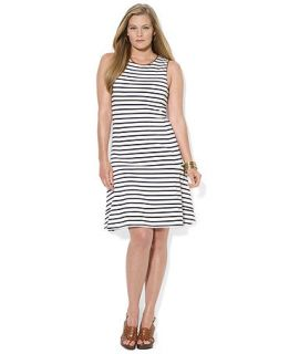 Lauren Ralph Lauren Plus Size Sleeveless Striped A Line Dress   Dresses   Plus Sizes