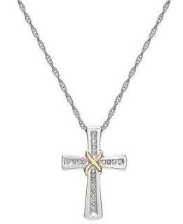 Diamond Necklace, Sterling Silver and 14k Gold Diamond Cross X Pendant (1/10 ct. t.w.)   Necklaces   Jewelry & Watches