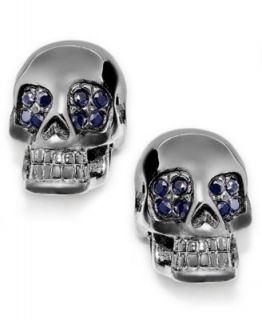 Skulls on Fire Mens Stainless Steel Black Sapphire Skull Ring (1/8 ct. t.w.)   Rings   Jewelry & Watches