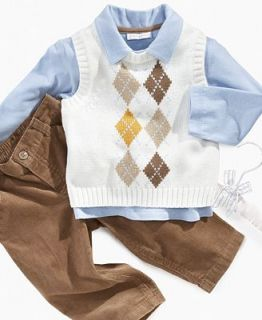 First Impressions Baby Set, Baby Boy 3 Piece Argyle Vest Set   Kids
