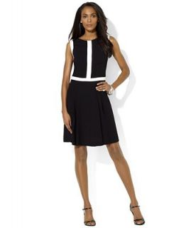Lauren Ralph Lauren Dress, Sleeveless Contrast Trim Pleated   Dresses   Women
