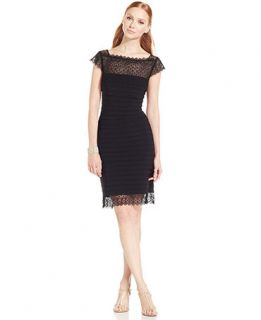 Adrianna Papell Illusion Lace Shutter Pleat Sheath   Dresses   Women