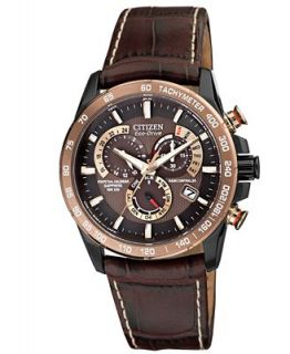 Citizen Mens Eco Drive Perpetual Chrono A T Brown Leather Strap Watch 42mm AT4006 06X   Watches   Jewelry & Watches