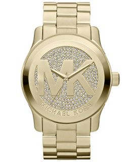 Michael Kors Womens Runway Gold Tone Stainless Steel Bracelet Watch 45mm MK5706   Watches   Jewelry & Watches
